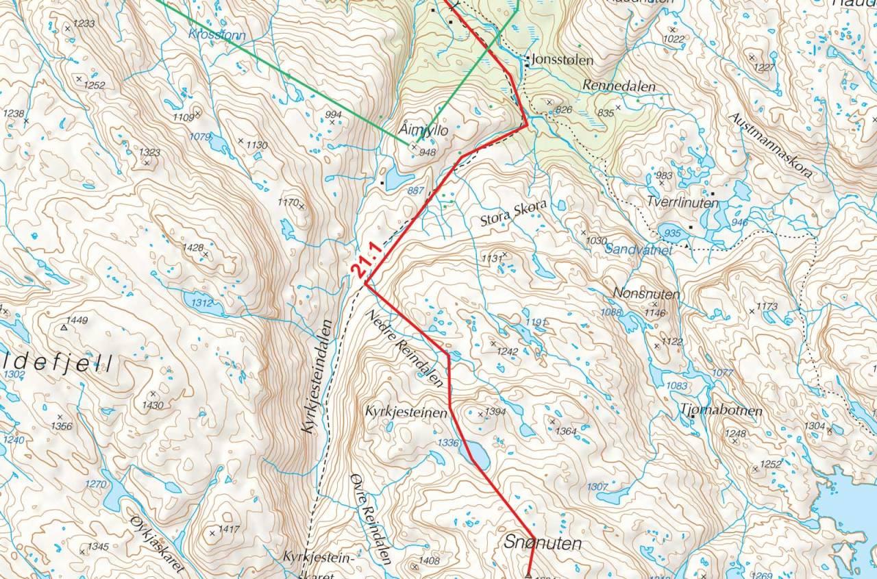 Kart over Snønuten med inntegnet rute. Fra Toppturer i Sørvest.