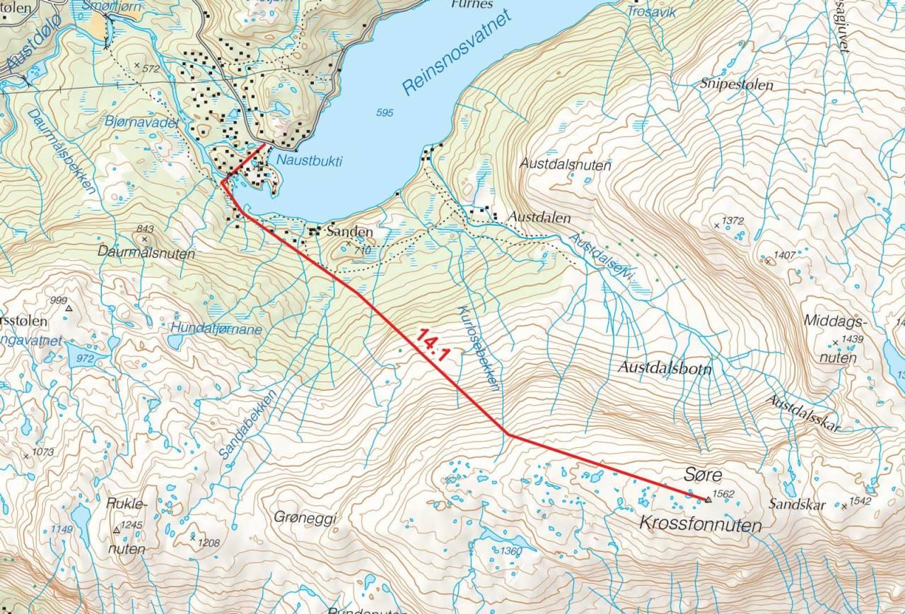 Kart over Søre Krossfonnuten med inntegnet rute. Toppturer i Sørvest.