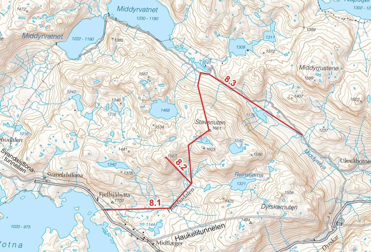 Kart over Stavsnuten med inntegnet rute. Fra Toppturer i Sørvest.