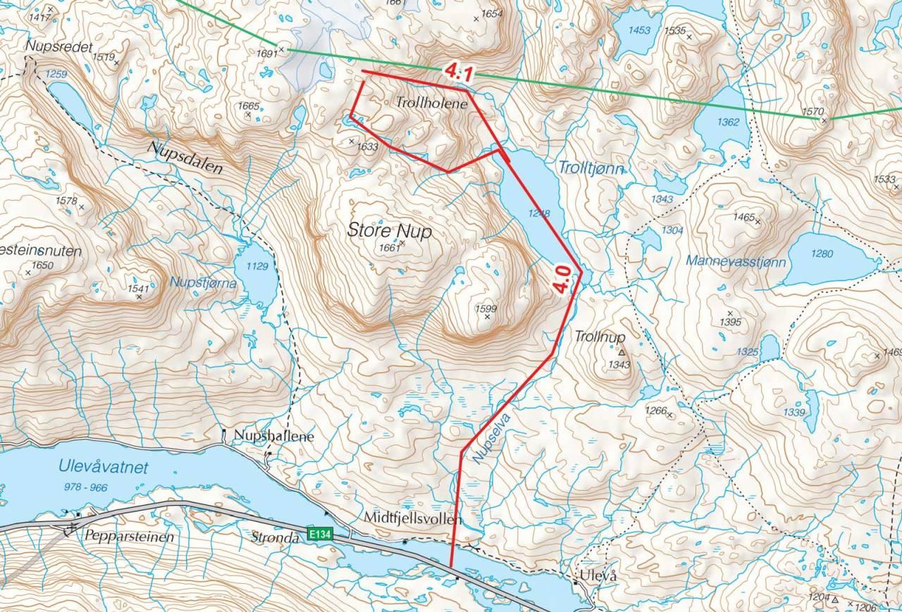 Kart over Trollholene med inntegnet rute. Fra Toppturer i Sørvest.