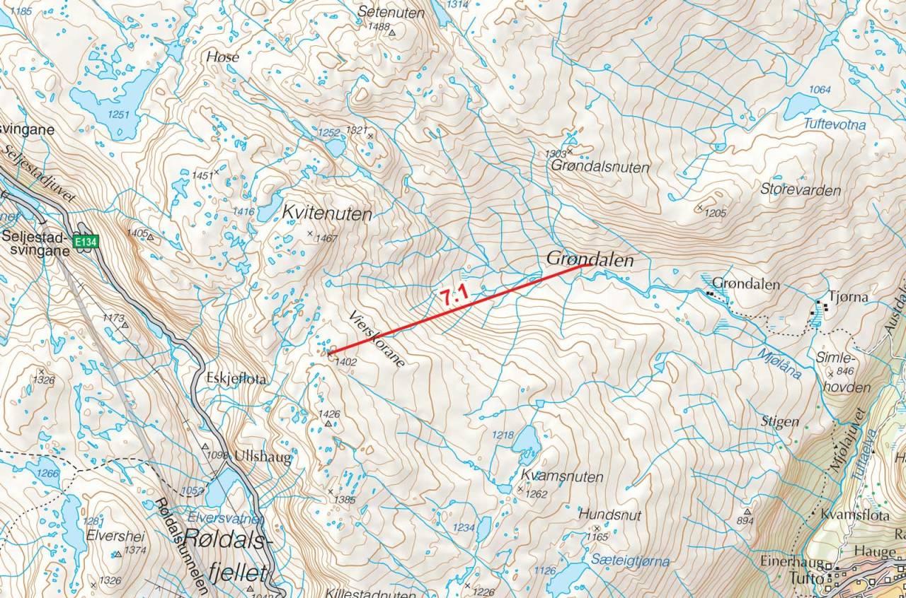 Kart over Vierskorsnuten med inntegnet rute. Fra Toppturer i Sørvest