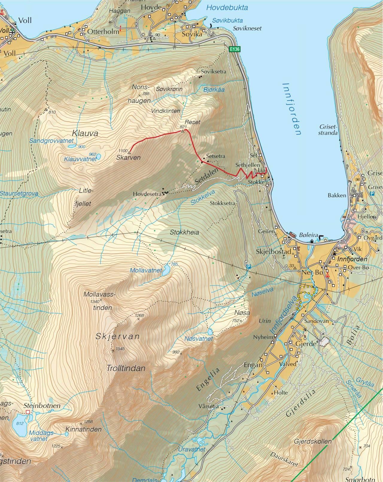 Kart over Skarven, Innfjorden med inntegnet rute. Fra Trygge toppturer.