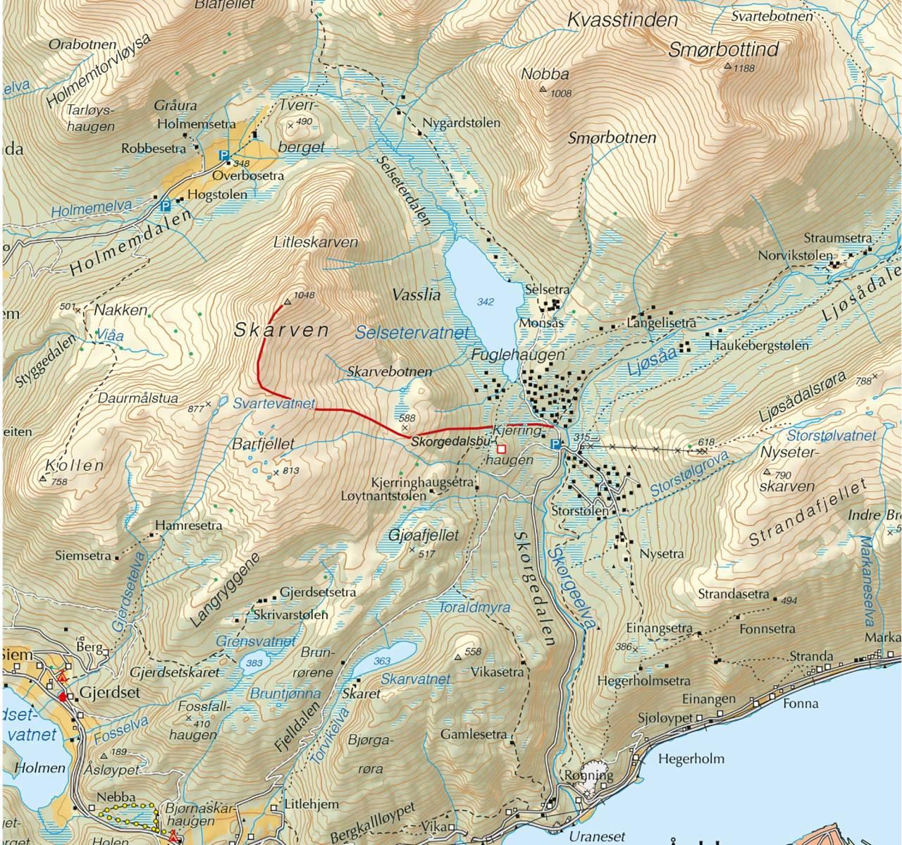 Kart over Skarven i Romsdalen