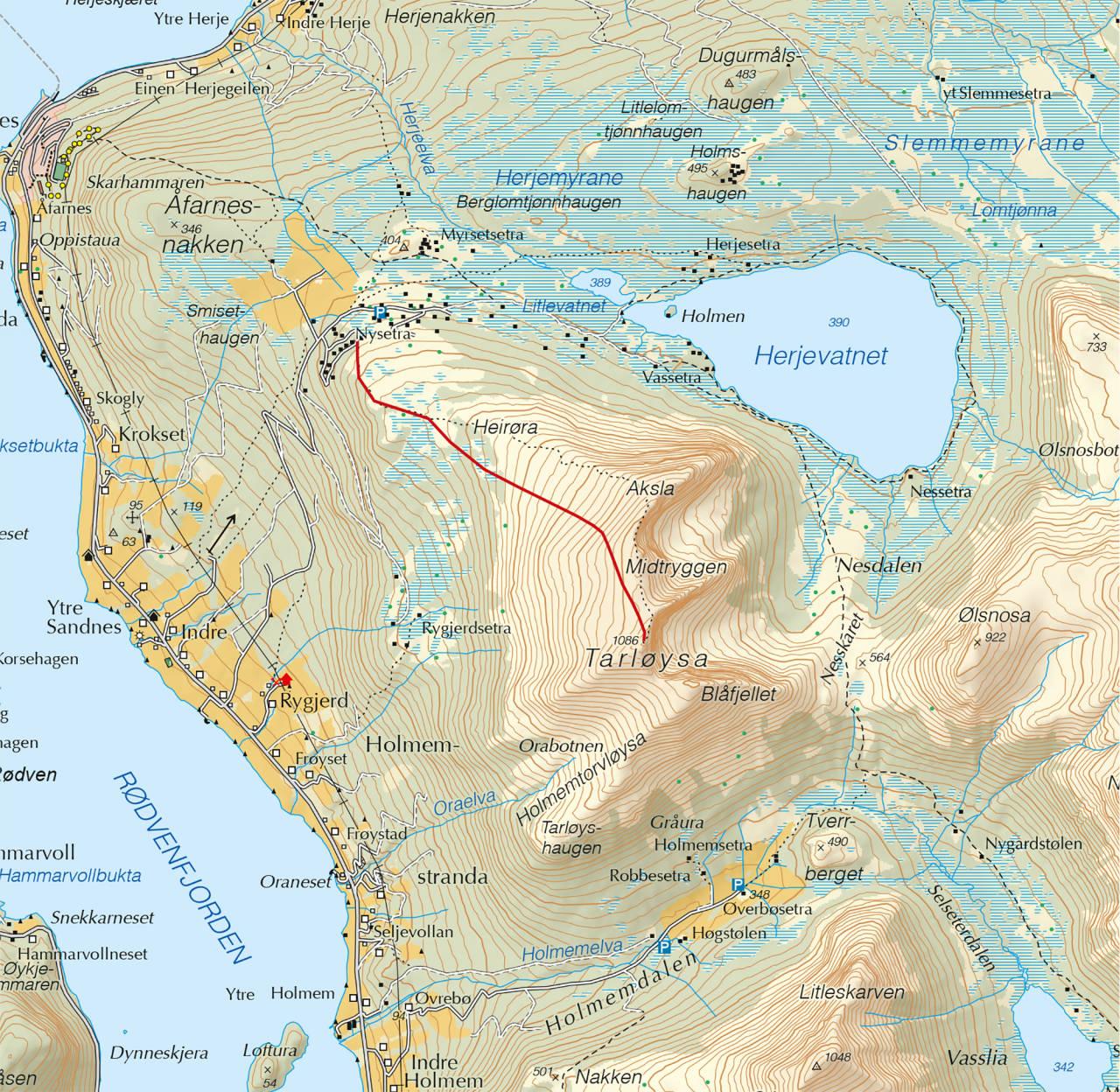 Kart over Tarløysa med inntegnet rute. Fra Trygge toppturer.