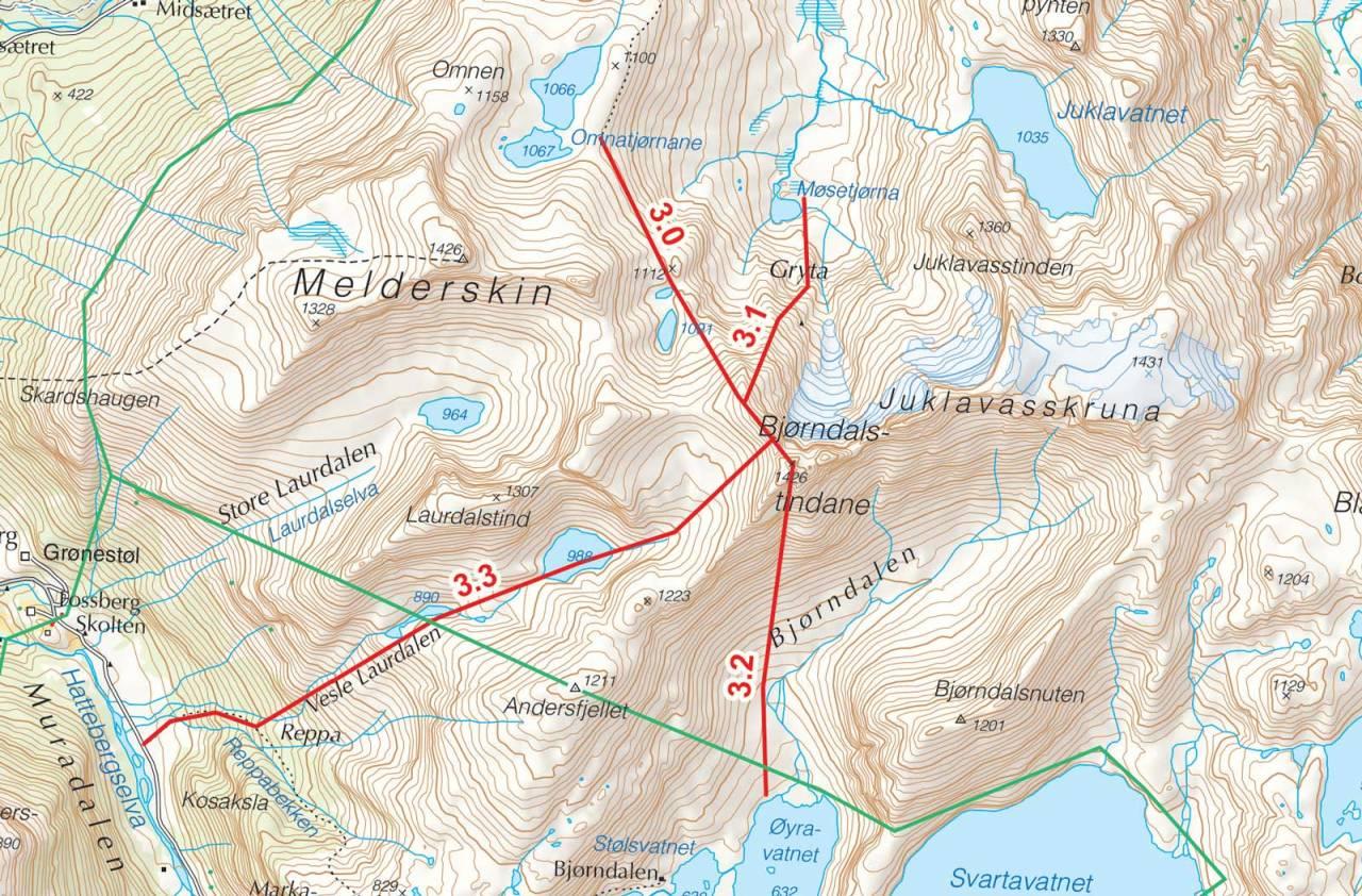 Kart over Bjørdalstind med inntegnet rute. Fra Toppturer i Sørvest.