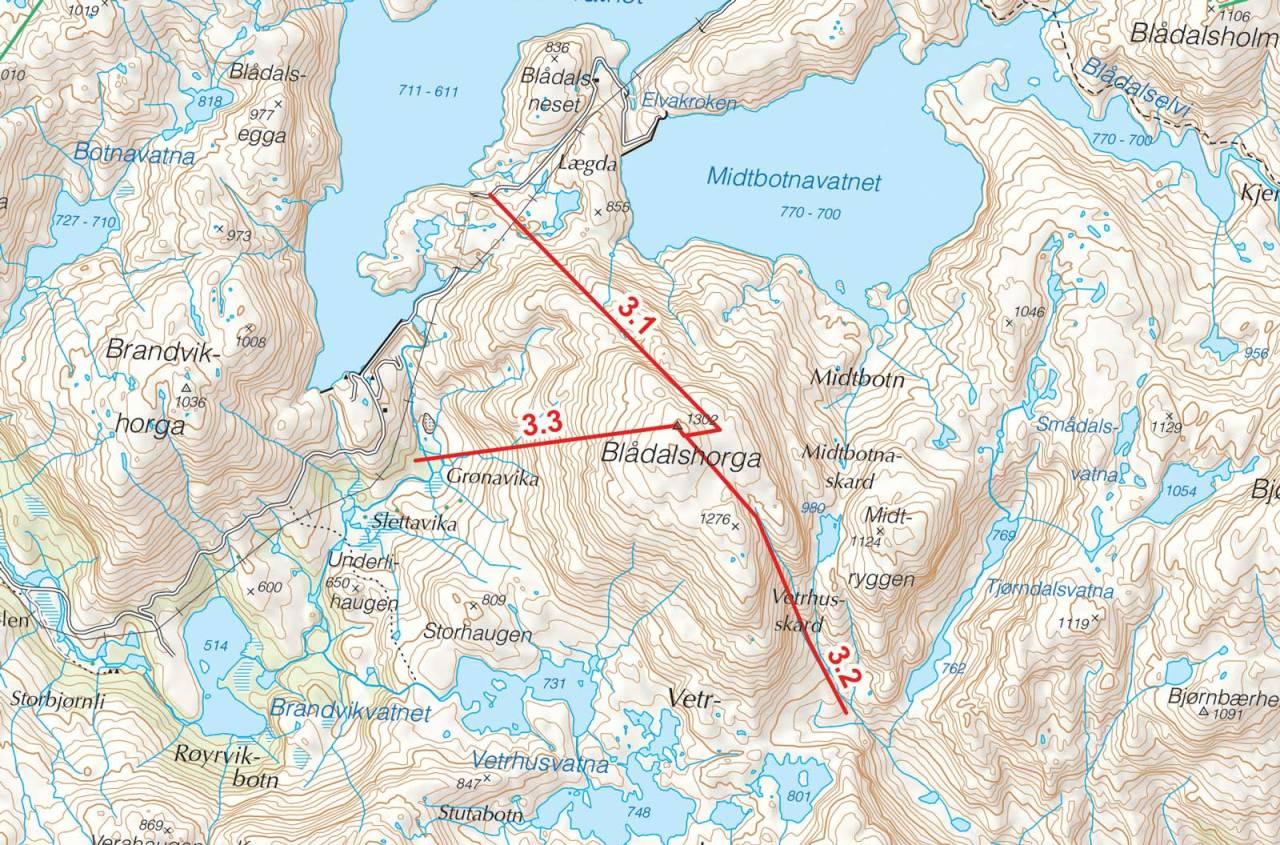 Kart over Blådalshorga med inntegnet rute. Fra Toppturer i Sørvest.