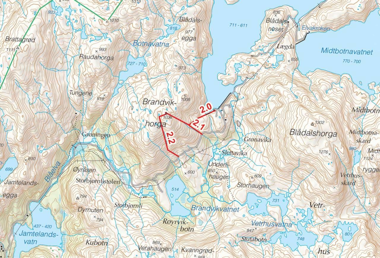 Kart over Brandvikshorga med inntegnet rute. Fra Toppturer i Sørvest.