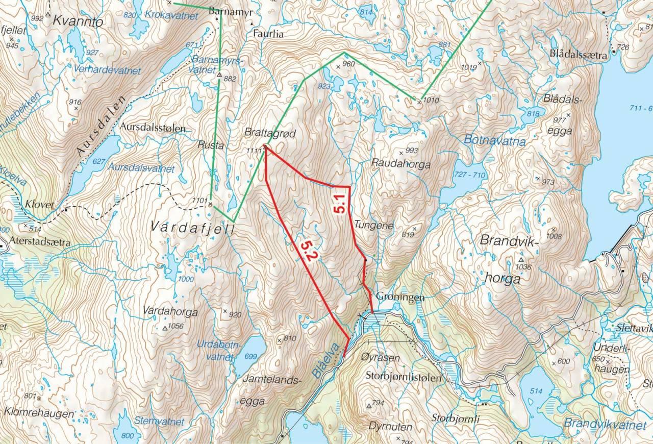 Kart over Brattagrød med inntegnet rute. Fra Toppturer i Sørvest.
