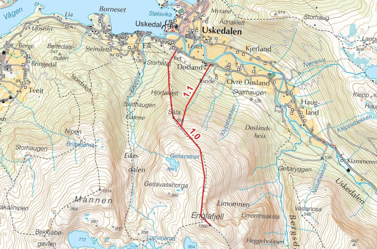 Kart over Englafjell med inntegnet rute. Fra Toppturer i Sørvest.