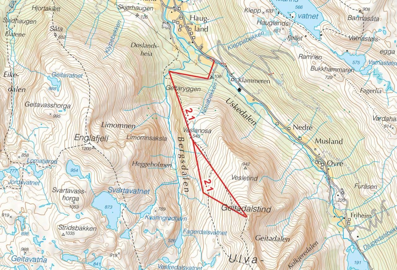 Kart over Geitdalstind med inntegnet rute. Fra Toppturer i Sørvest.