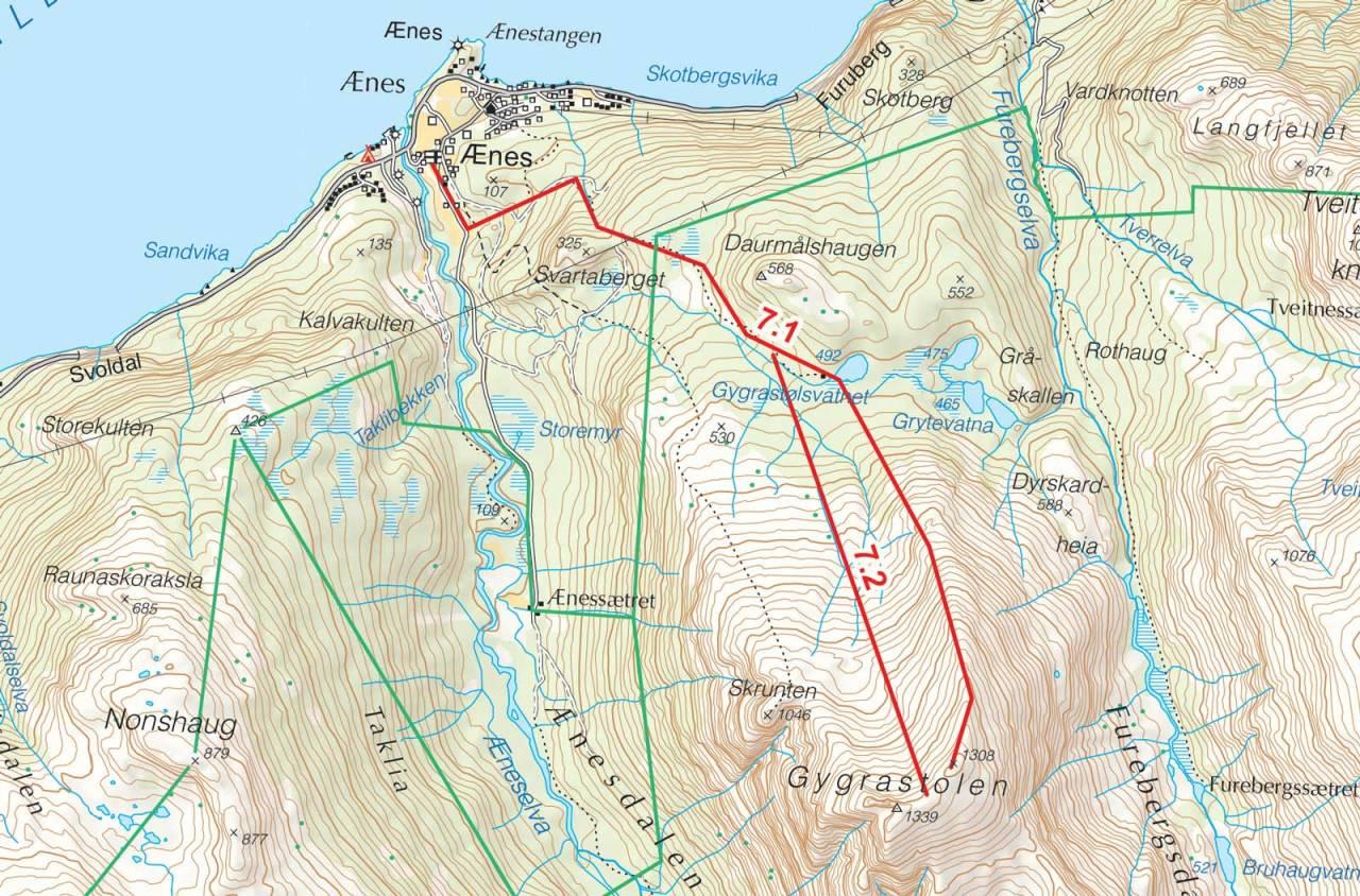 Kart over Gygrastolen med inntegnet rute. Fra Toppturer i Sørvest.