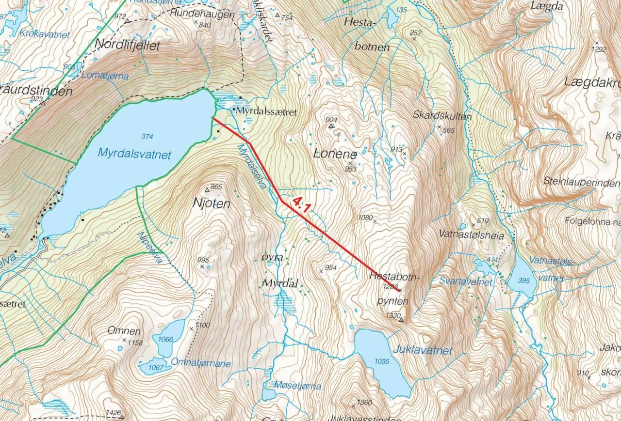 Kart over Hestabotnpynten med inntegnet rute. Fra Toppturer i Sørvest.