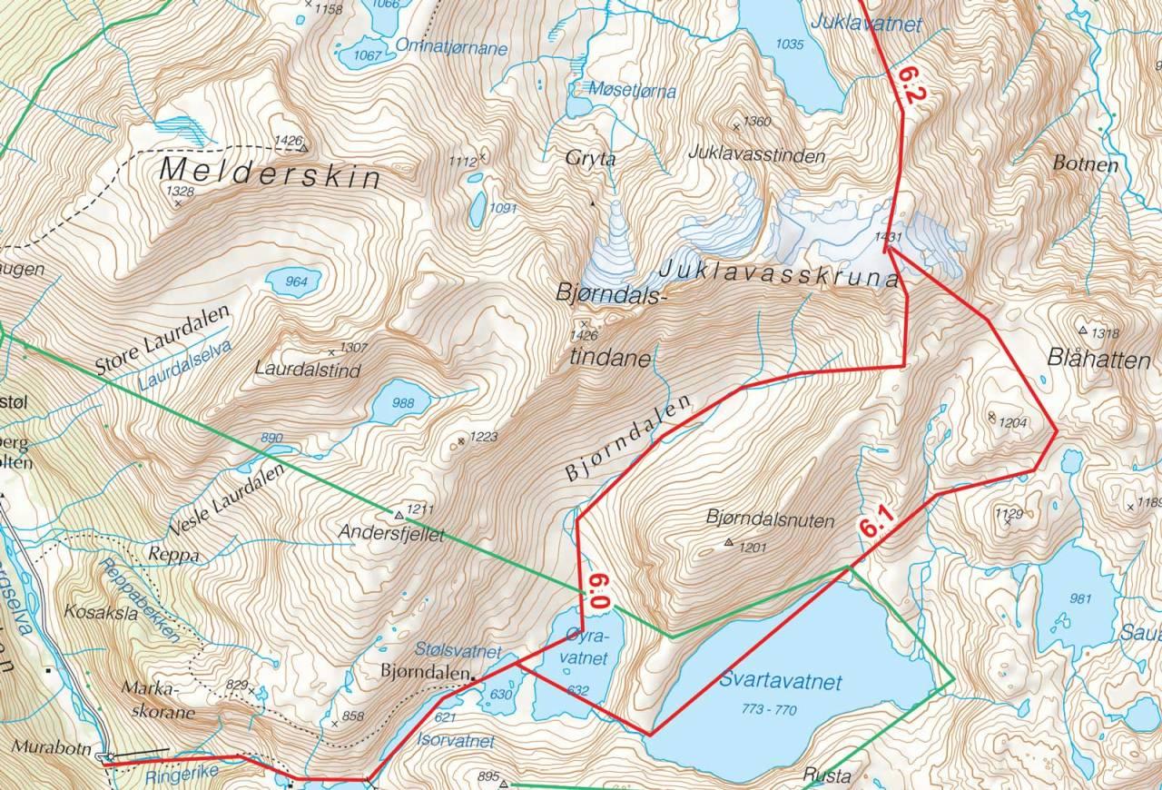 Kart over Juklavasskruna med inntegnet rute. Fra Toppturer i Sørvest.