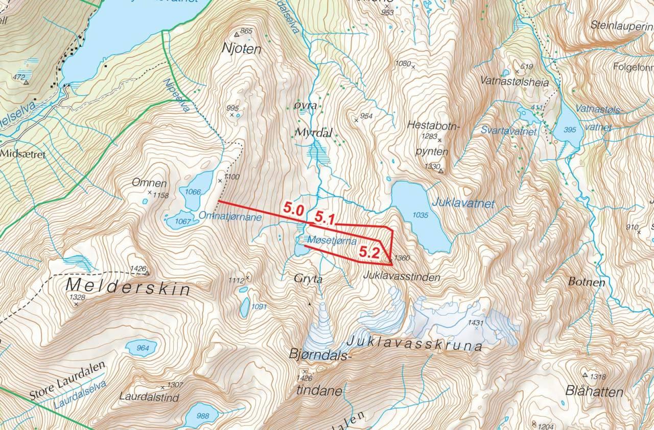 Kart over Juklavasstinden med inntegnet rute. Fra Toppturer i Sørvest.