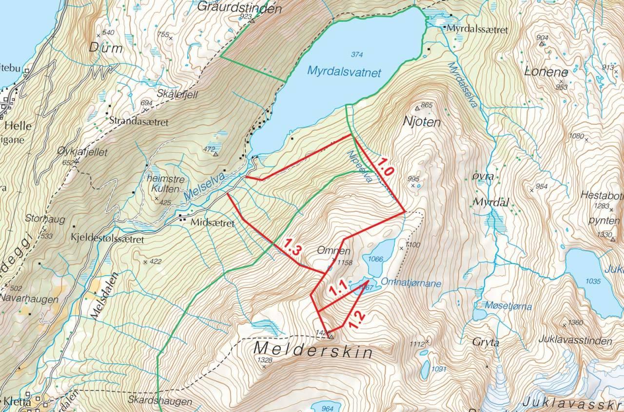Kart over Melderskin med inntegnet rute. Fra Toppturer i Sørvest