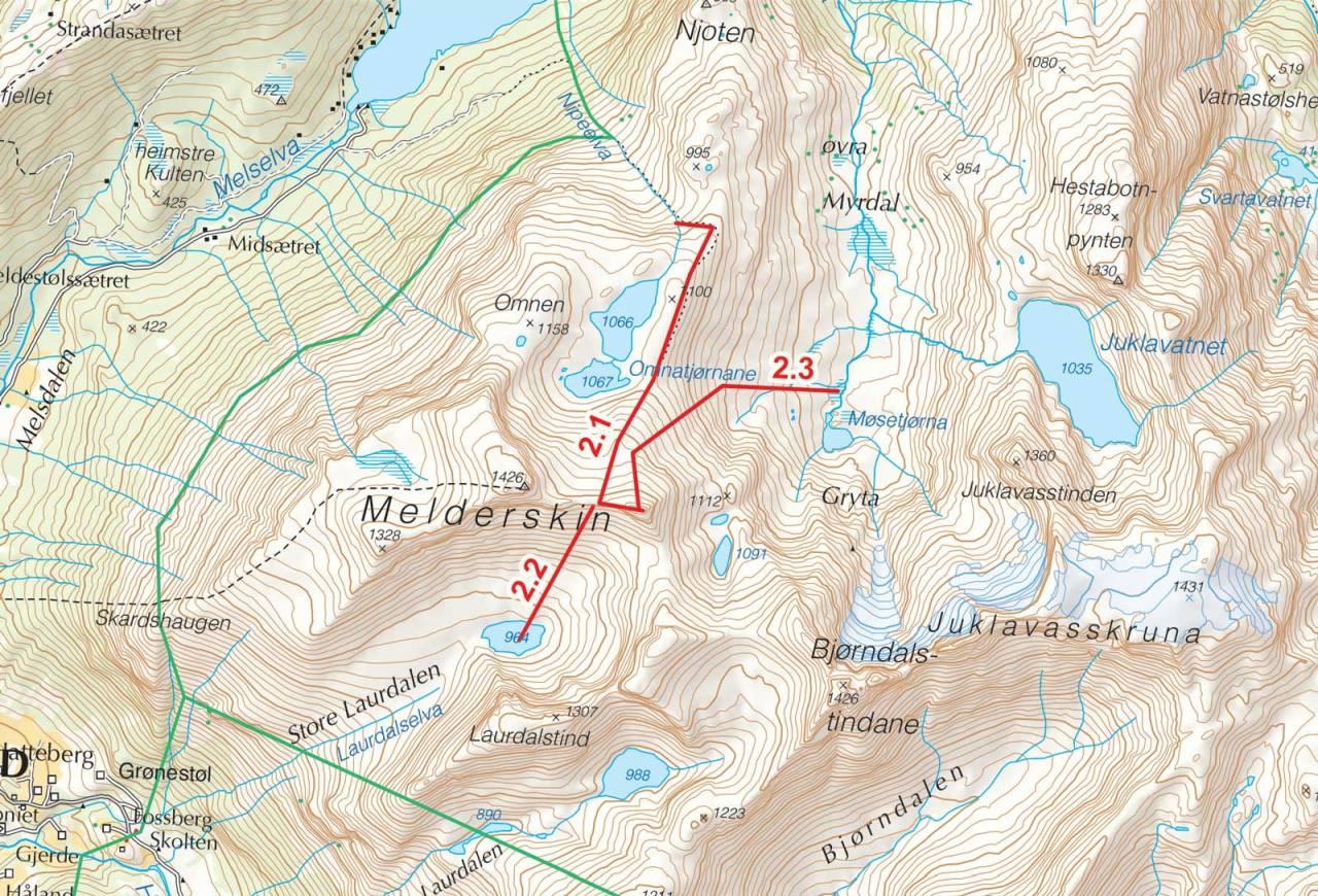 Kart over Omnatind med inntegnet rute. Fra Toppturer i Sørvest.