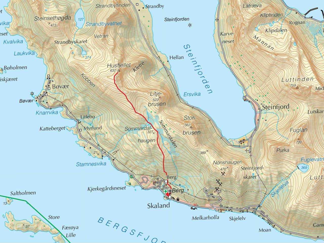 Kart over Husfjellet med inntegnet rute. Fra Trygge toppturer.
