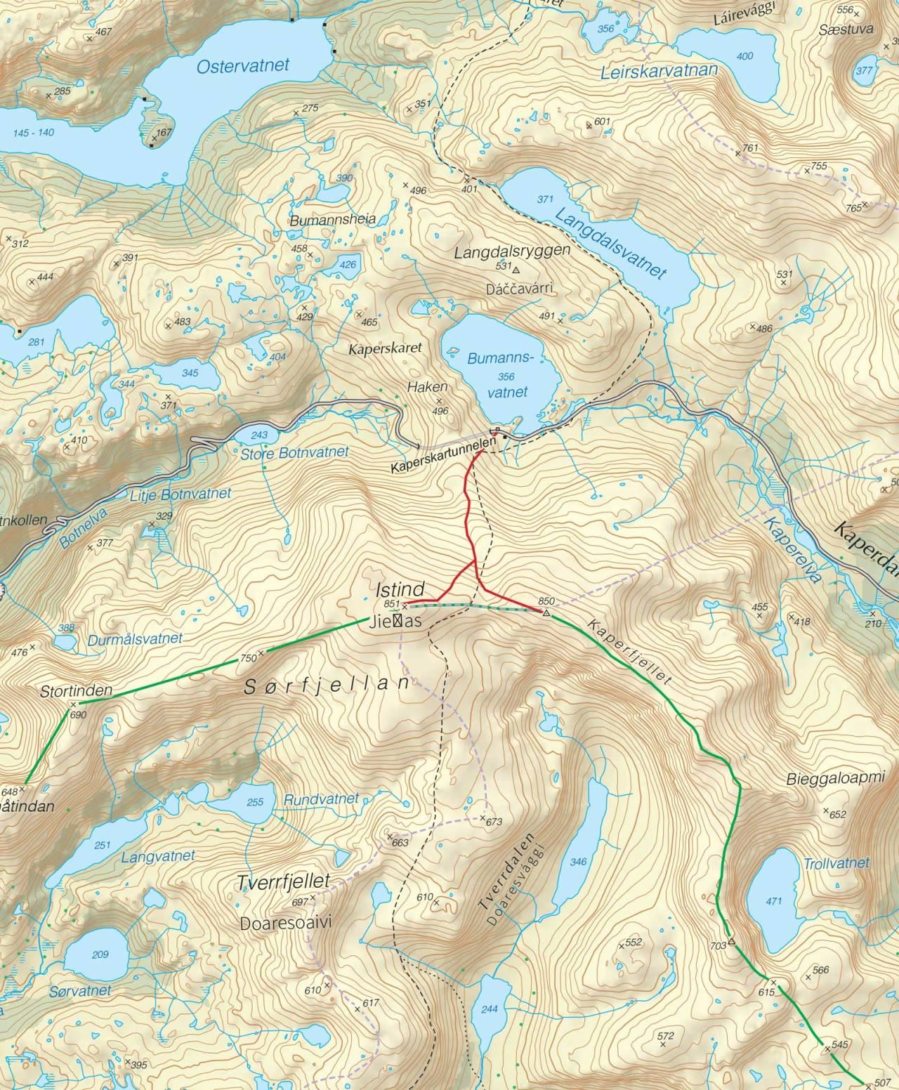 Kart over Istind og Kaperfjellet med inntegnet rute. Fra Trygge toppturer