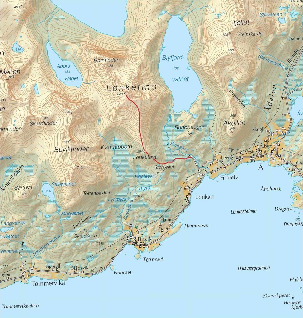 Kart over Lonketind med inntegnet rute. Fra Trygge toppturer.
