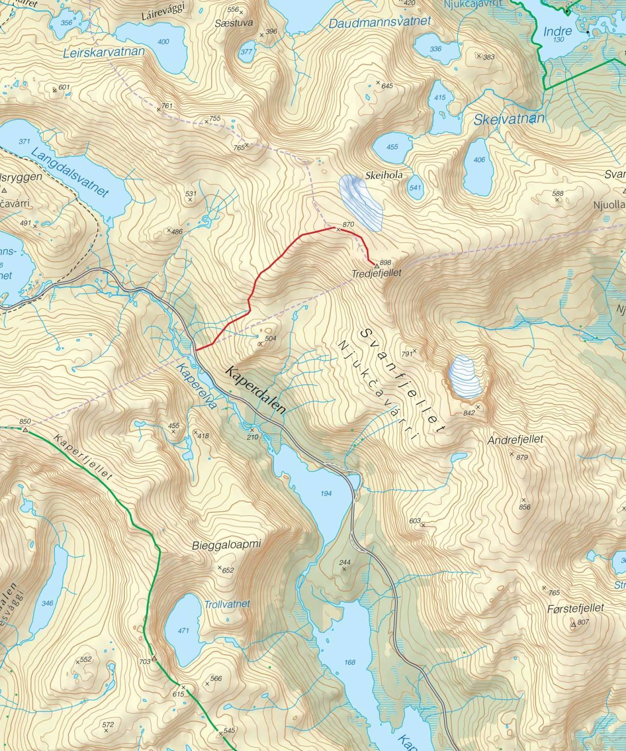 Kart over Tredje Svanfjell med inntegnet rute. Fra Trygge toppturer