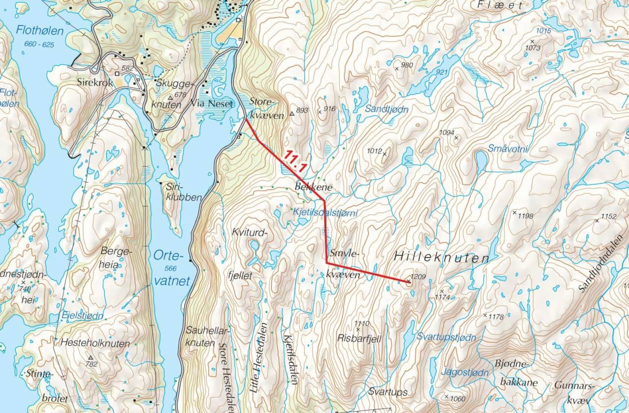 Kart over Hilleknuten med inntegnet rute. Fra Toppturer i Sørvest.