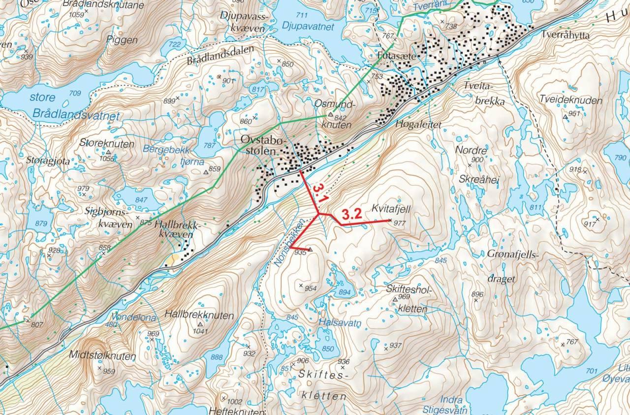 Kart over Kvitafjell med inntegnet rute. Fra Toppturer i Sørvest.