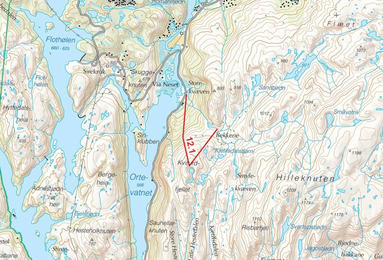 Kart over Kviturdfjellet med inntegnet rute. Fra Toppturer i Sørvest.