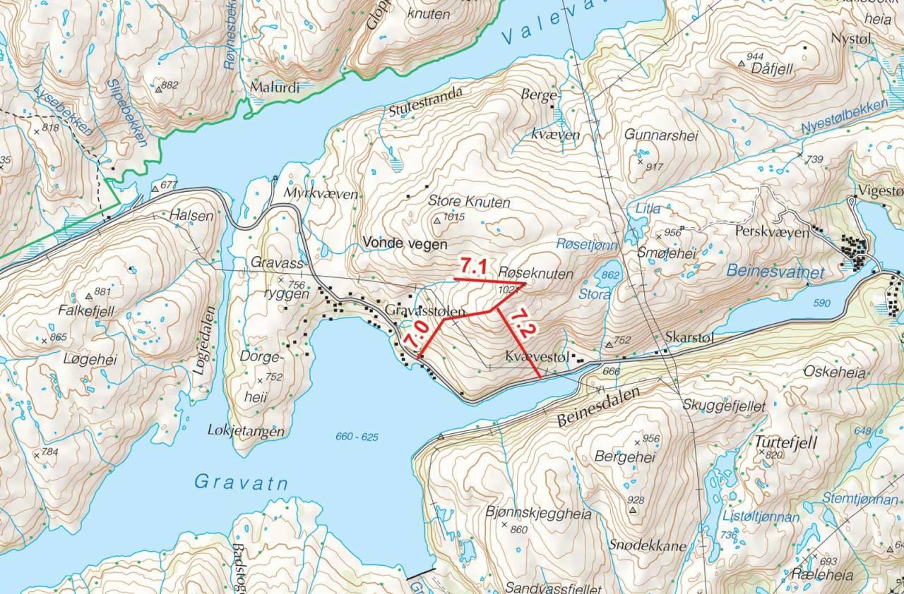 Kart over Røseknuten med inntegnet rute. Fra Toppturer i Sørvest.