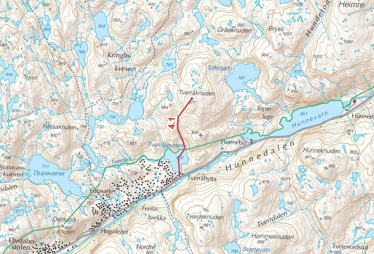 Kart over Tverråknuten med inntegnet rute. Fra Toppturer i Sørvest.