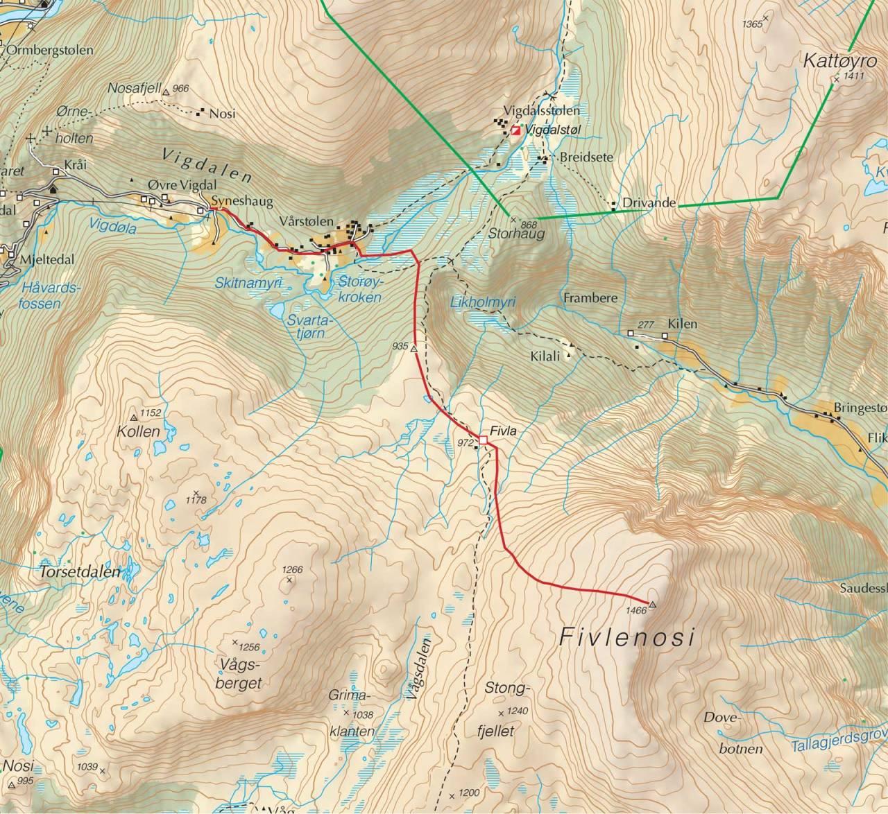 Kart over Fivlenosi med inntegnet rute. Fra Trygge toppturer.