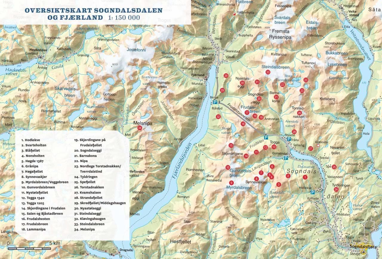 Oversiktskart over Sogndalsdalen og Fjærland. Toppturar i Sogn.