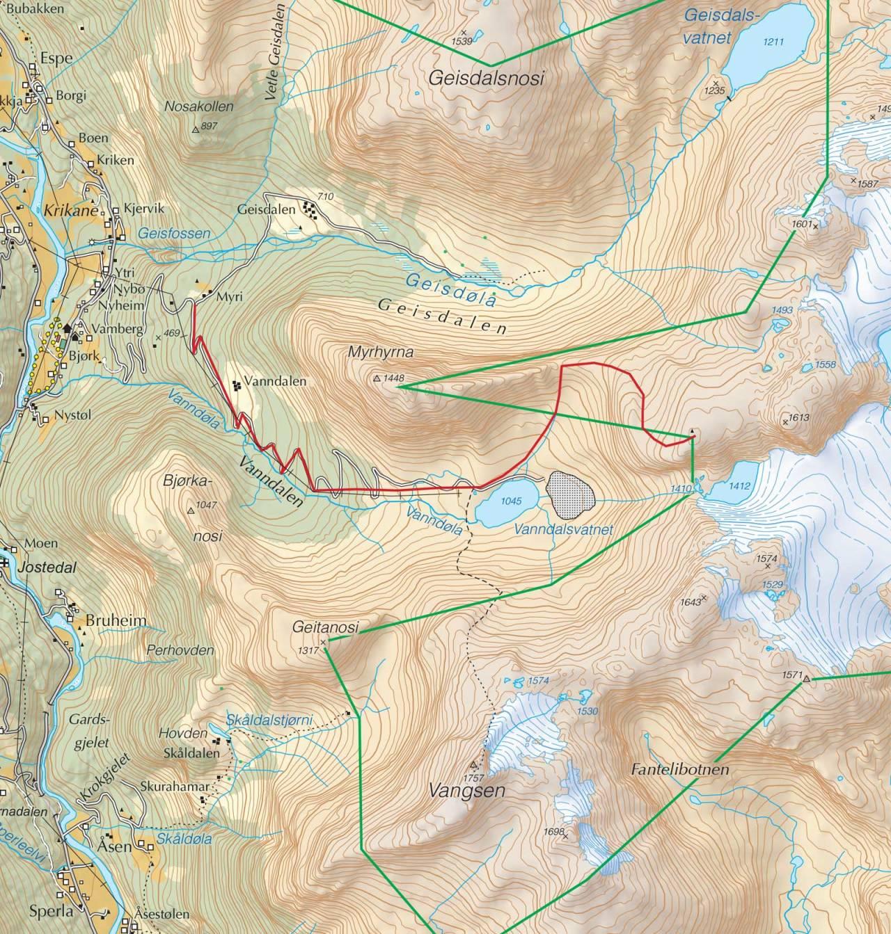 Kart over Hytta på Mannen med inntegnet rute. Fra Trygge toppturer.