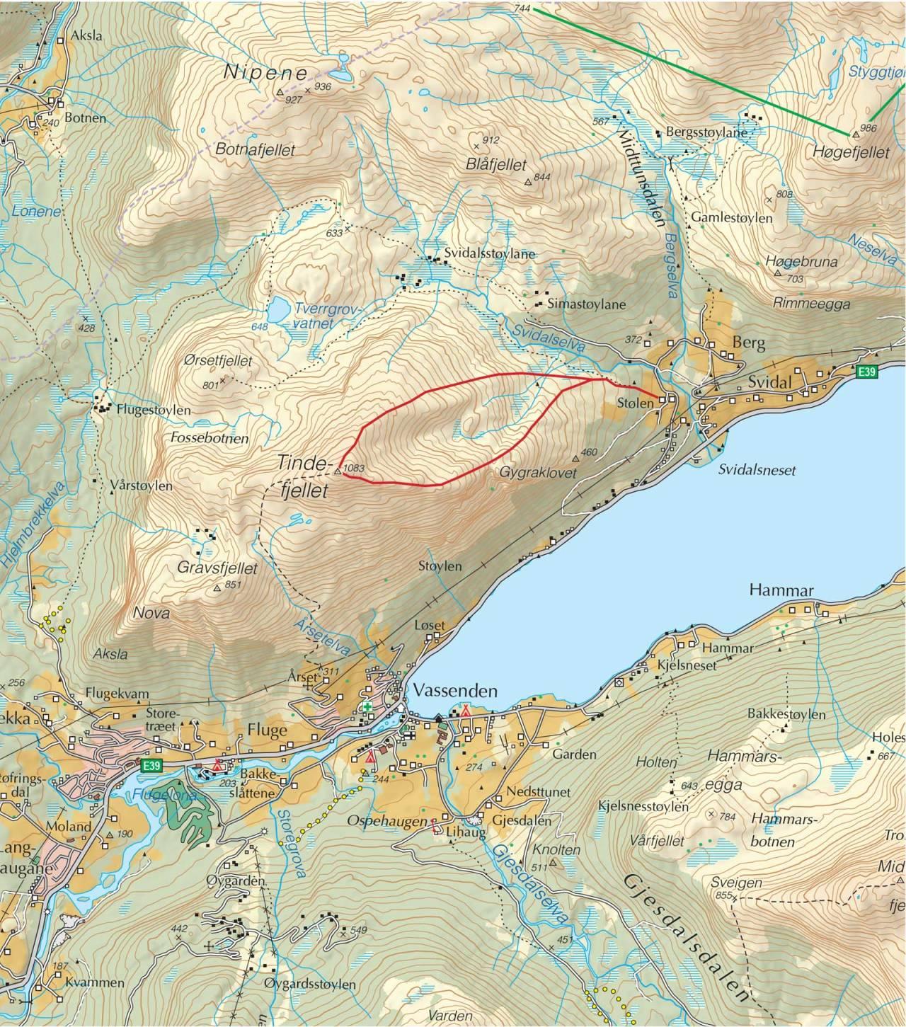 Kart over Tindefjellet med inntegnet rute. Fra Trygge toppturer.