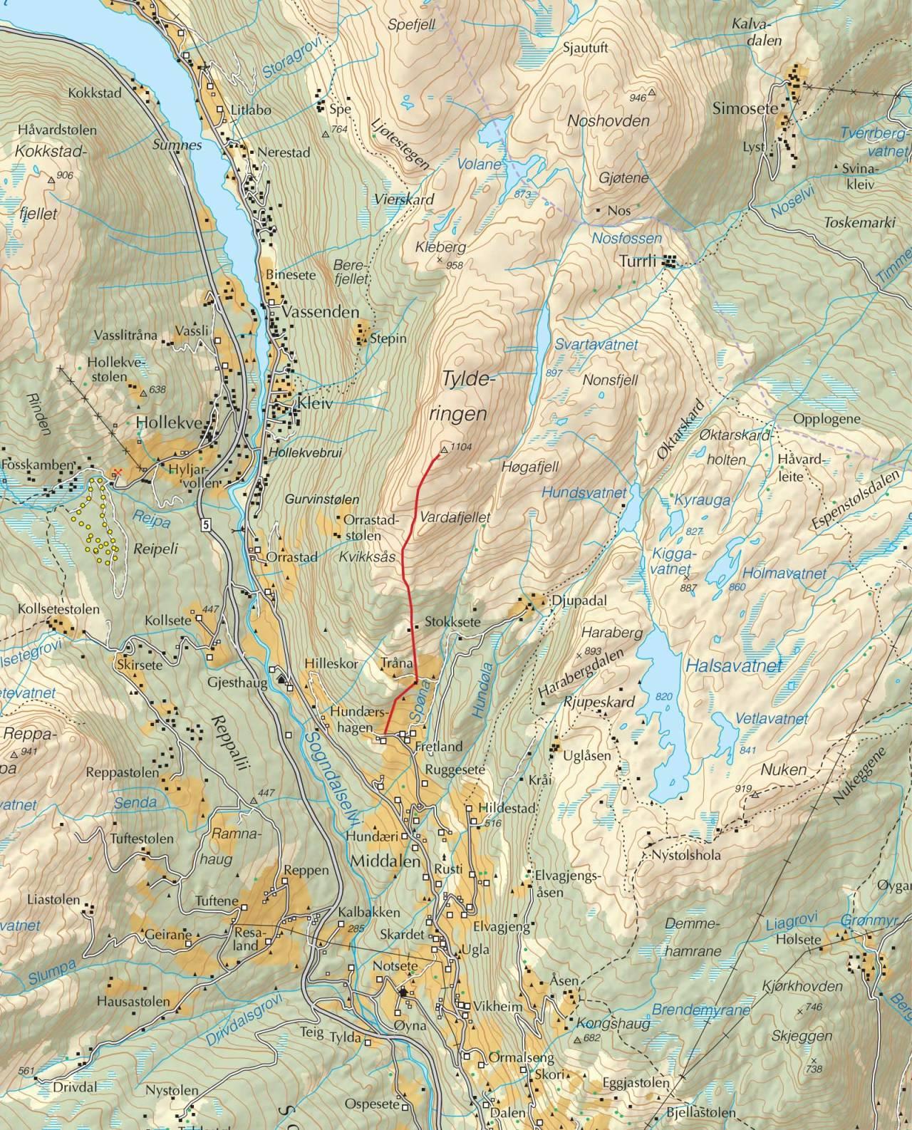 Kart over Tyldringen med inntegnet rute. Fra Trygge toppturer.