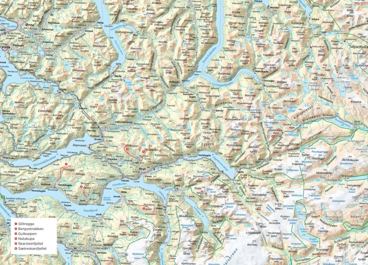 Oversiktskart over Stryn. Fra Trygge toppturer