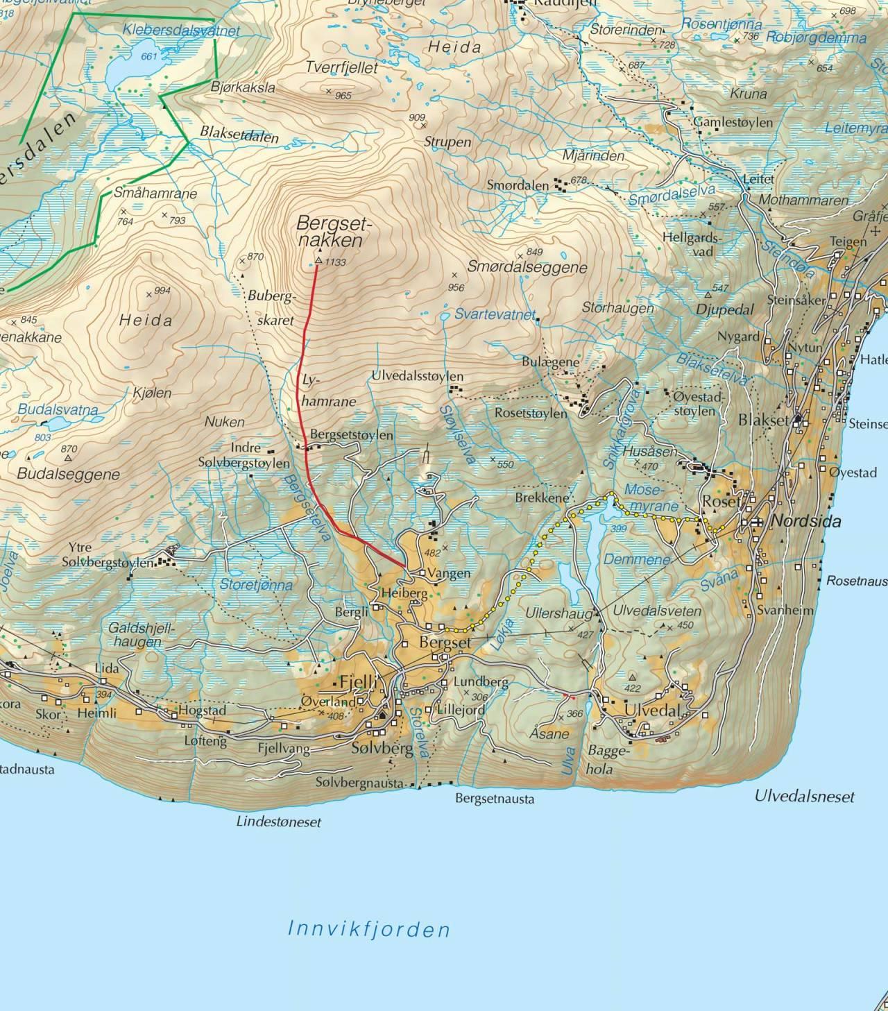 Kart over Bergsetnakken med inntegnet rute. Fra Trygge toppturer.