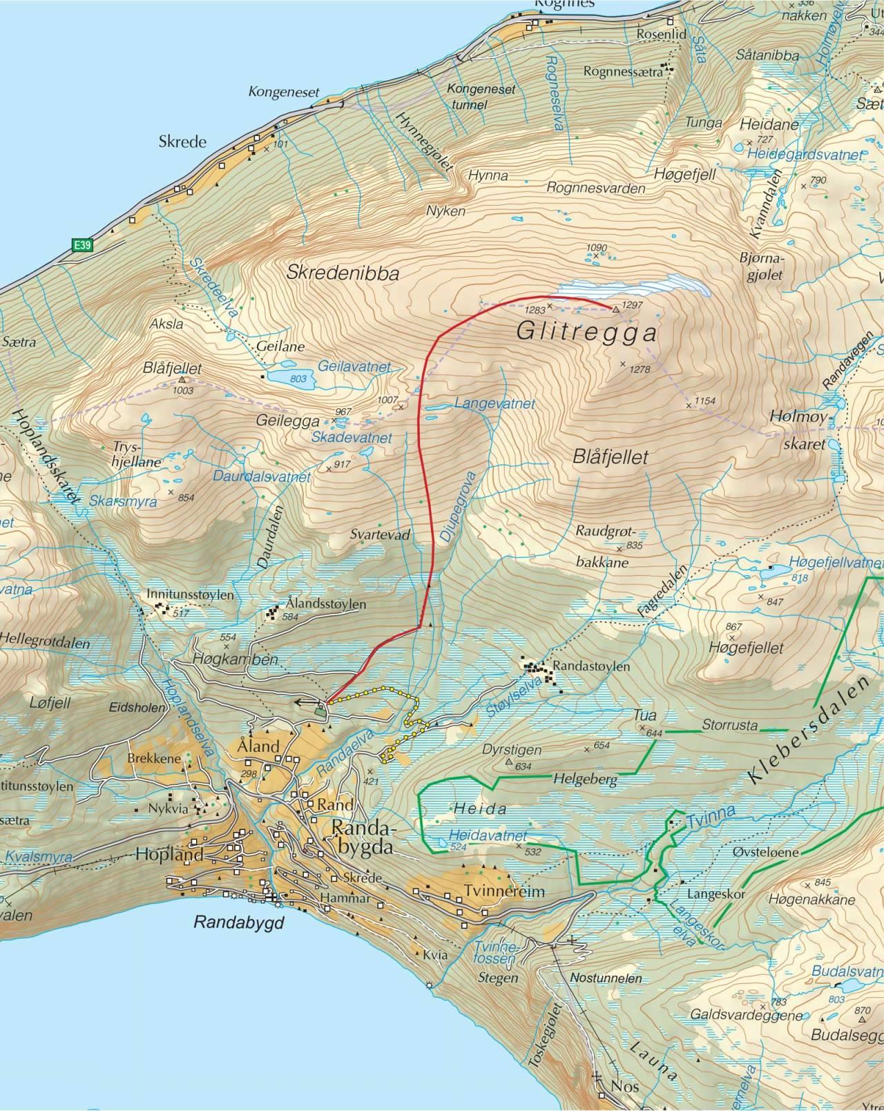Kart over Glitregga med inntegnet rute. Fra Trygge toppturer.