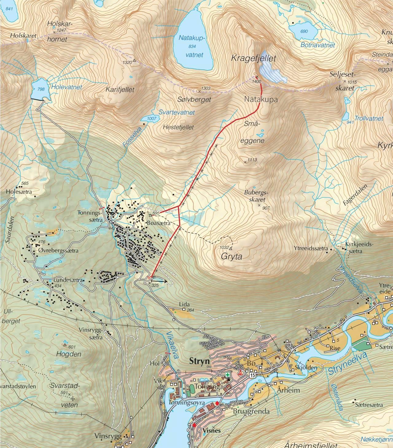 Kart over Natakupa med inntegnet rute. Fra Trygge toppturer