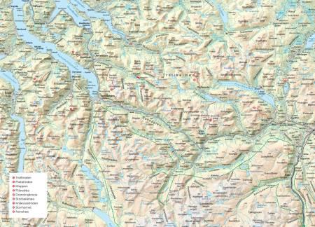 Oversiktskart over Sunndal og Oppdal. Fra Trygge toppturer.
