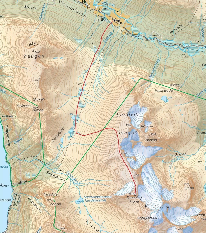 Kart over Dronningkrona med inntegnet rute. Fra Trygge toppturer.