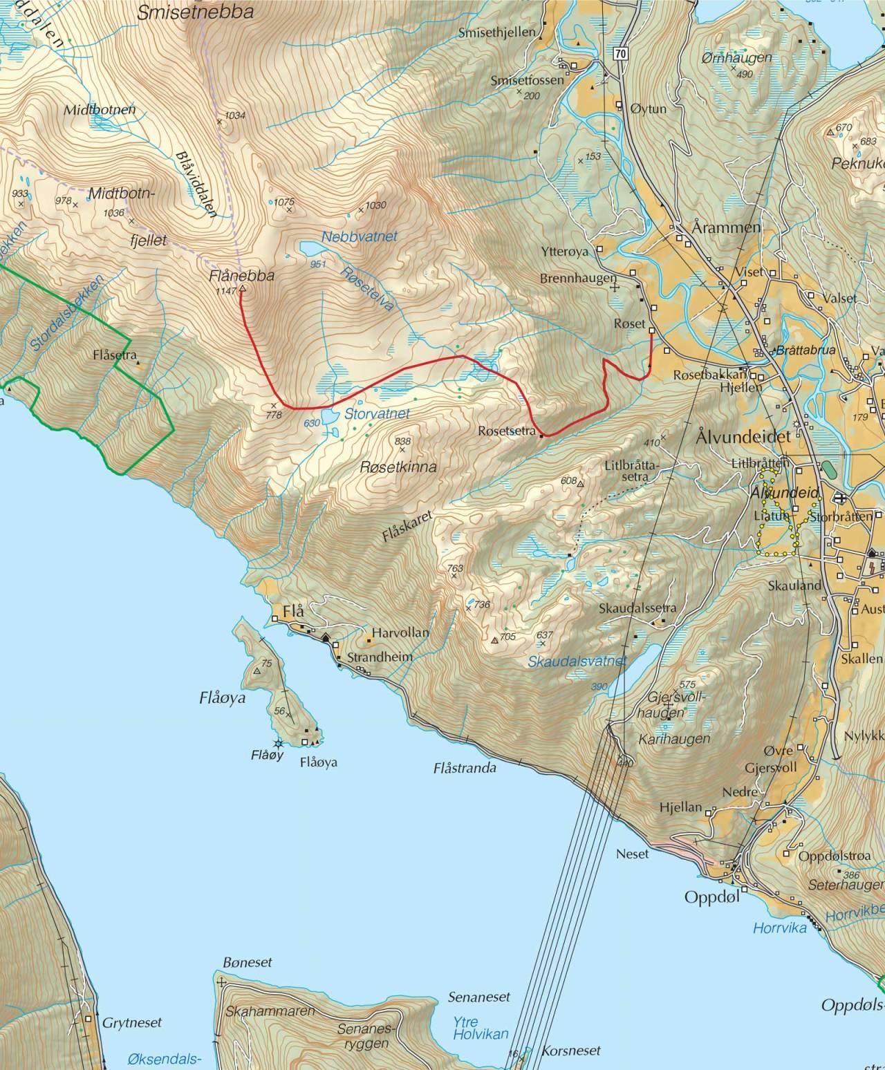 Kart over Flånebba med inntegnet rute. Fra Trygge toppturer.