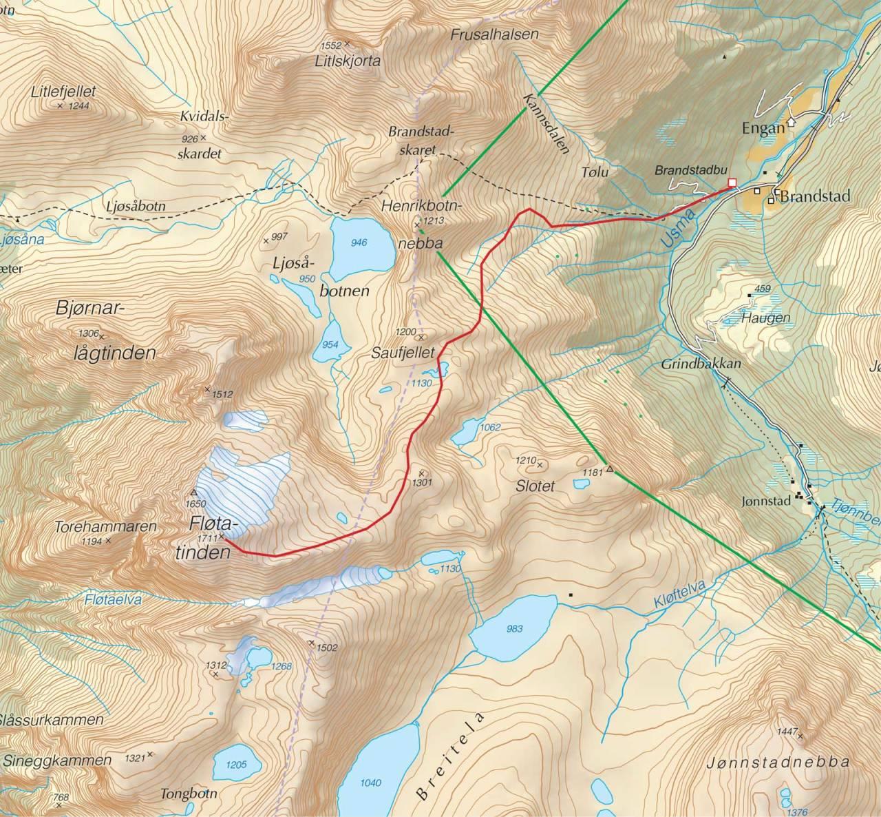 Kart over Fløtatinden med inntegnet rute. Fra Trygge toppturer.