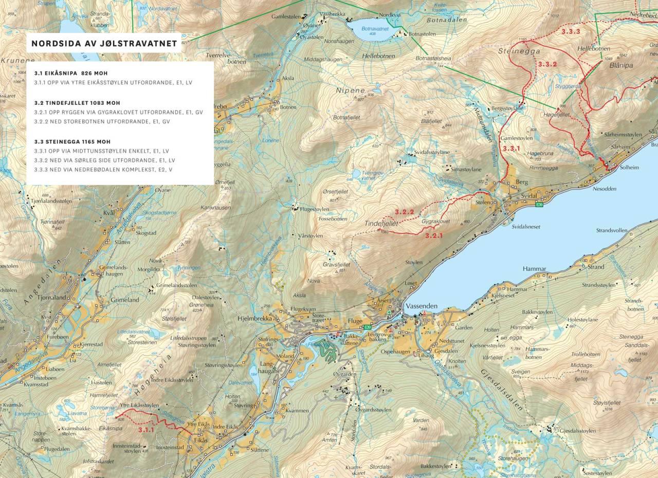 Kart over Nordsida av Jølstravatnet med inntegnet rute. Frå Toppturar i Sunnfjord.