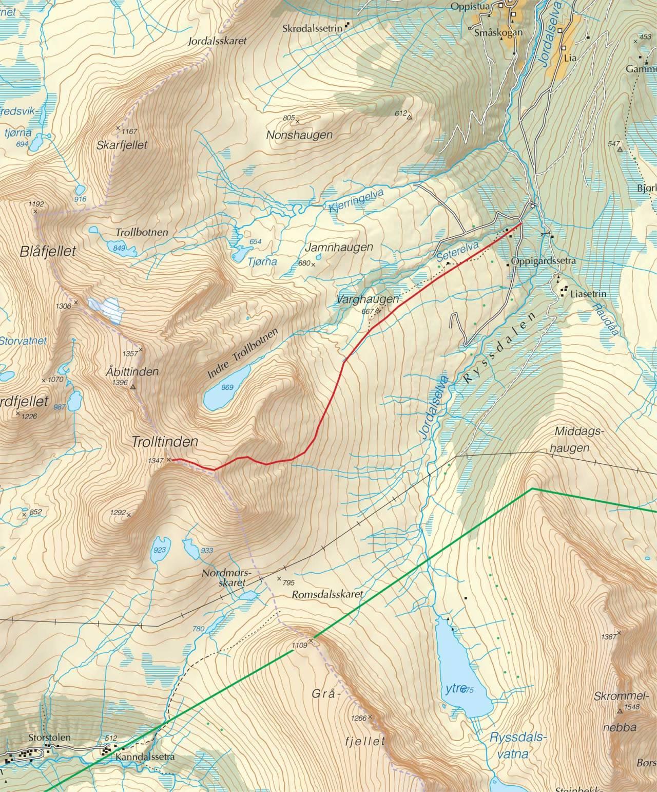 Kart over Trolltinden med inntegnet rute. Fra Trygge toppturer.