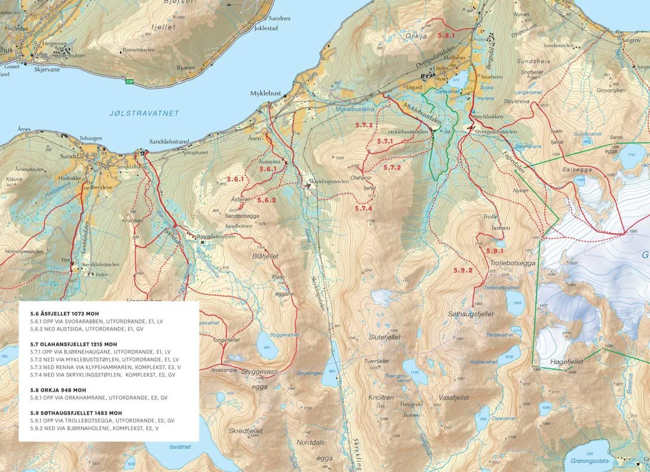 Kart over Sørsida av Jølstravatnet og Kjøsnesfjorden med inntegnet rute. Fra Toppturar i Sunnfjord.