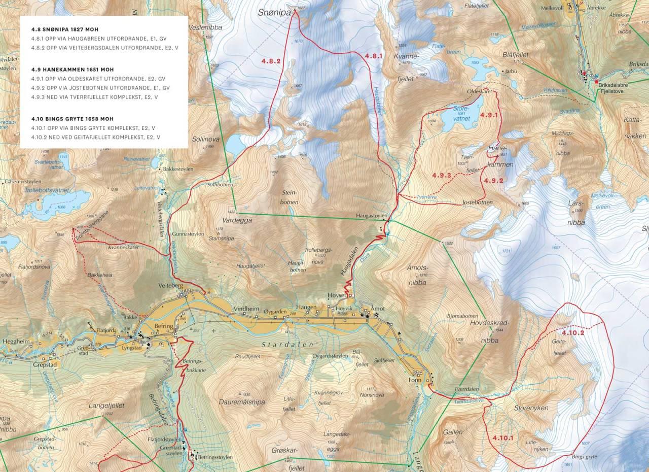 Kart over Skei og Stardalen med inntegnet rute. Frå Toppturar i Sunnfjord