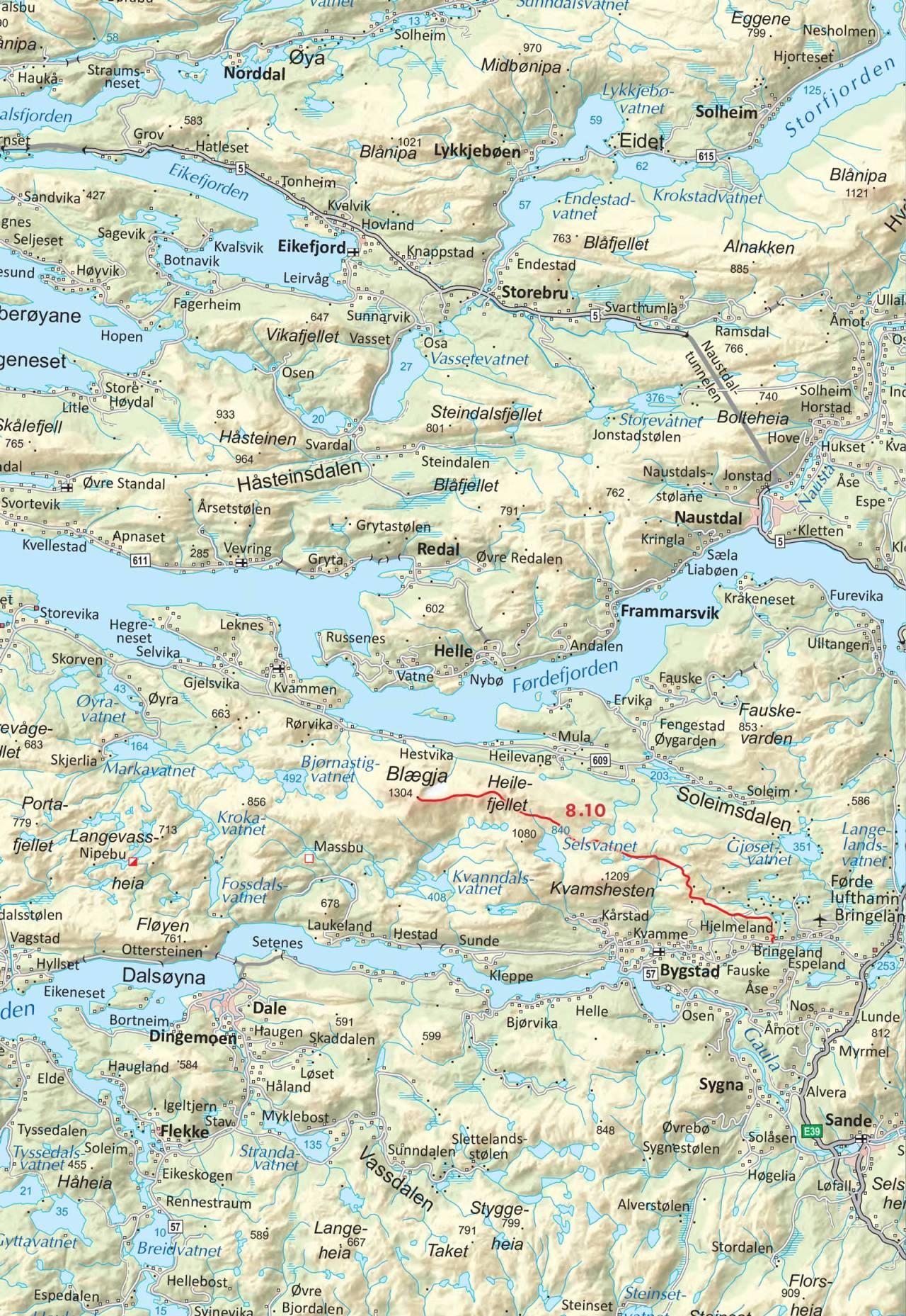 Kart over Blægja med inntegnet rute. Frå Toppturar i Sunnfjord