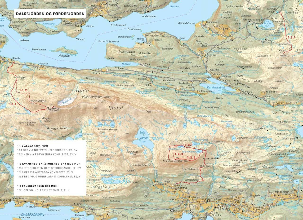 Kart over Dalsfjorden og Førdefjorden med inntegnet rute. Frå Toppturar i Sunnfjord