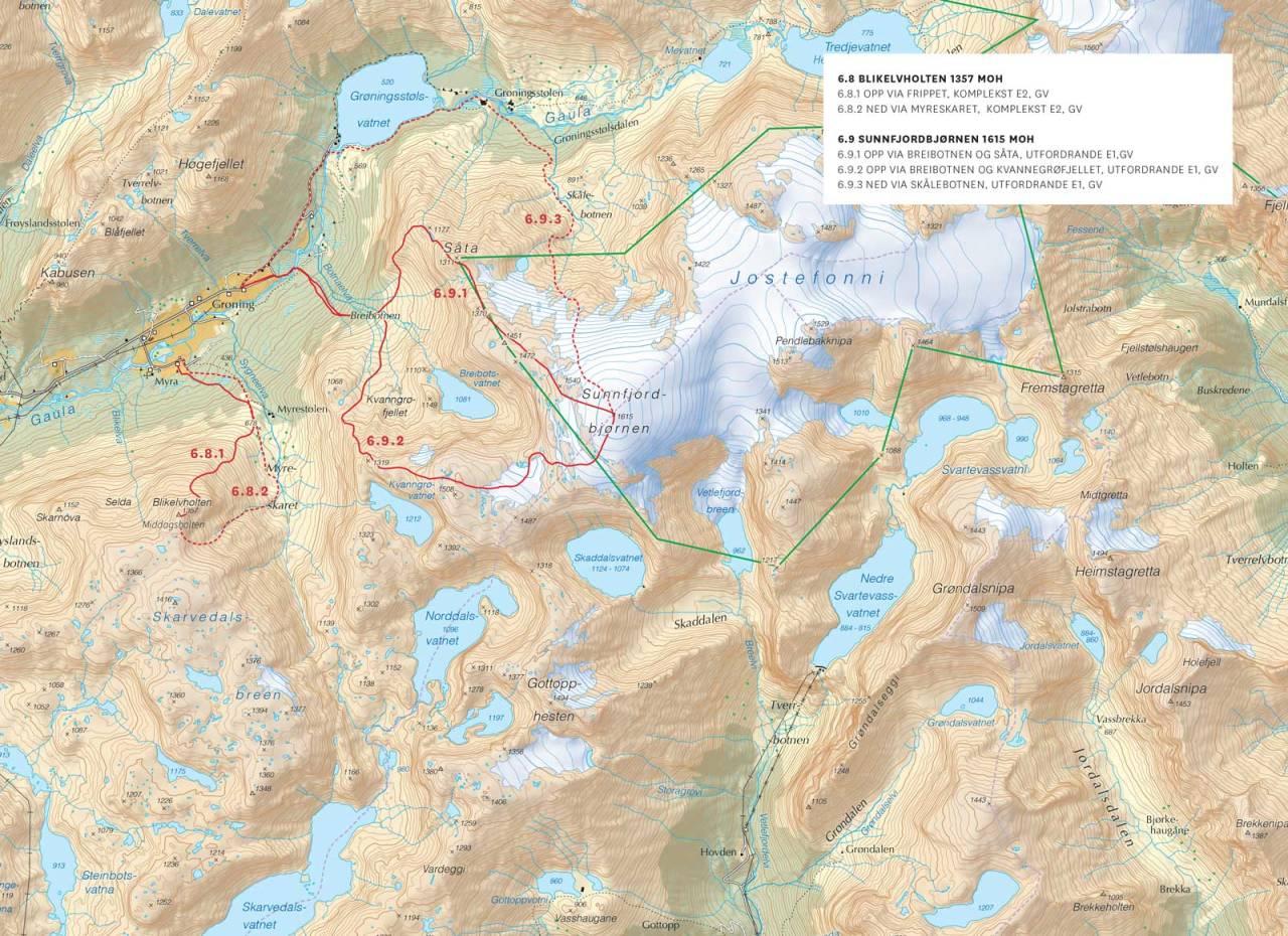 Kart over Rørvikfjellet og Haukedalen med inntegnet rute. Frå Toppturar i Sunnfjord.