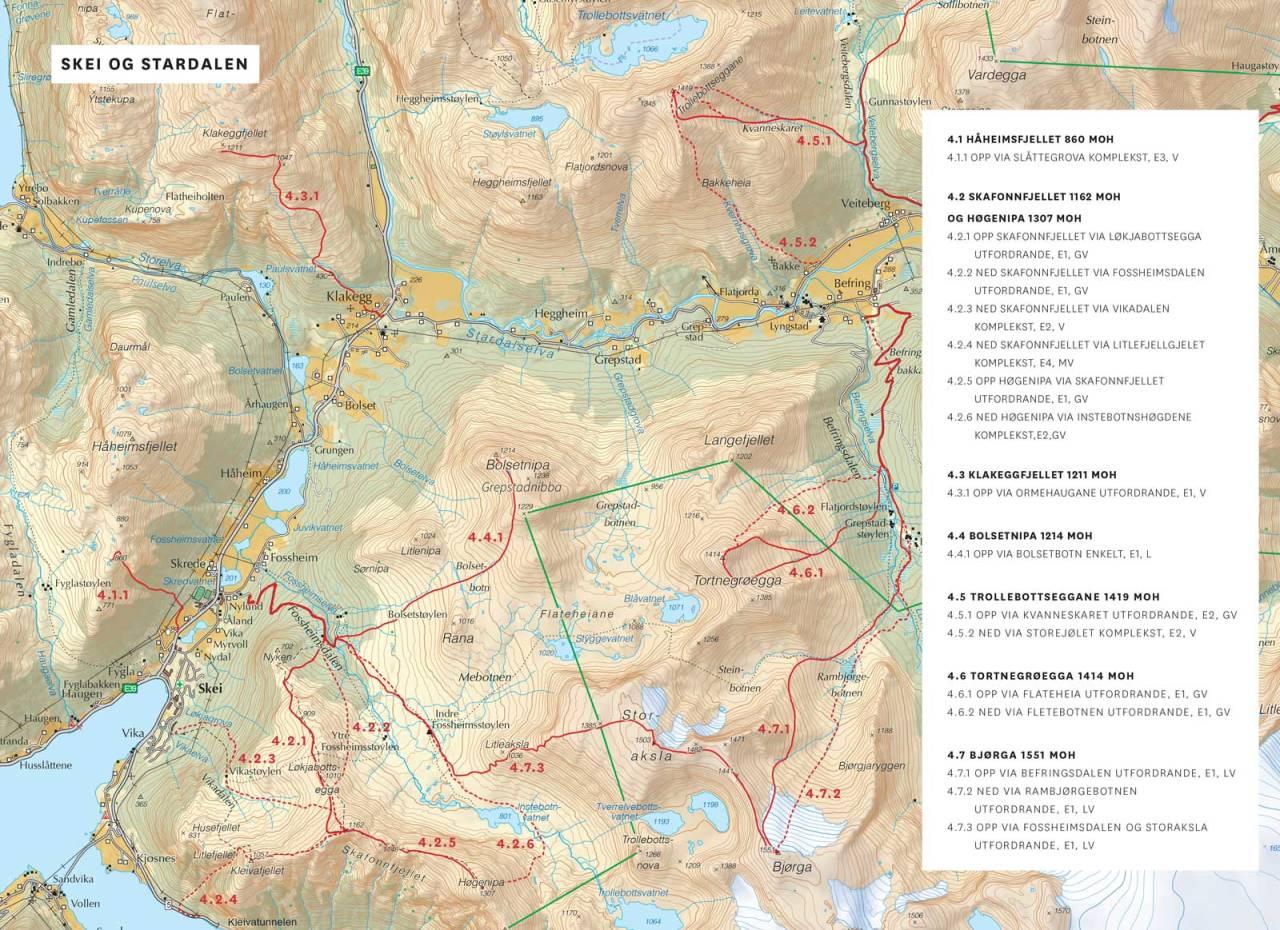 Kart over Skei og Stardalen med inntegnet rute. Frå Toppturar i Sunnfjord.